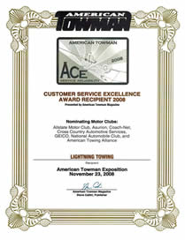 ACE Certificate of Excellence for Lighting Towing