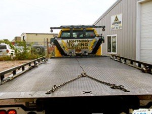 Flatbed and Chains for Towing