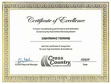 lighting towing certificate of excellence