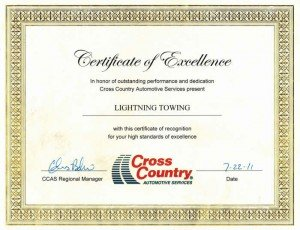 Certificate of Excellence for Lightning Towing